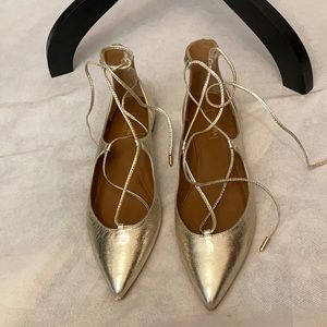 Aquazzura Christy Flat Gold Tie Lace Up Shoes.